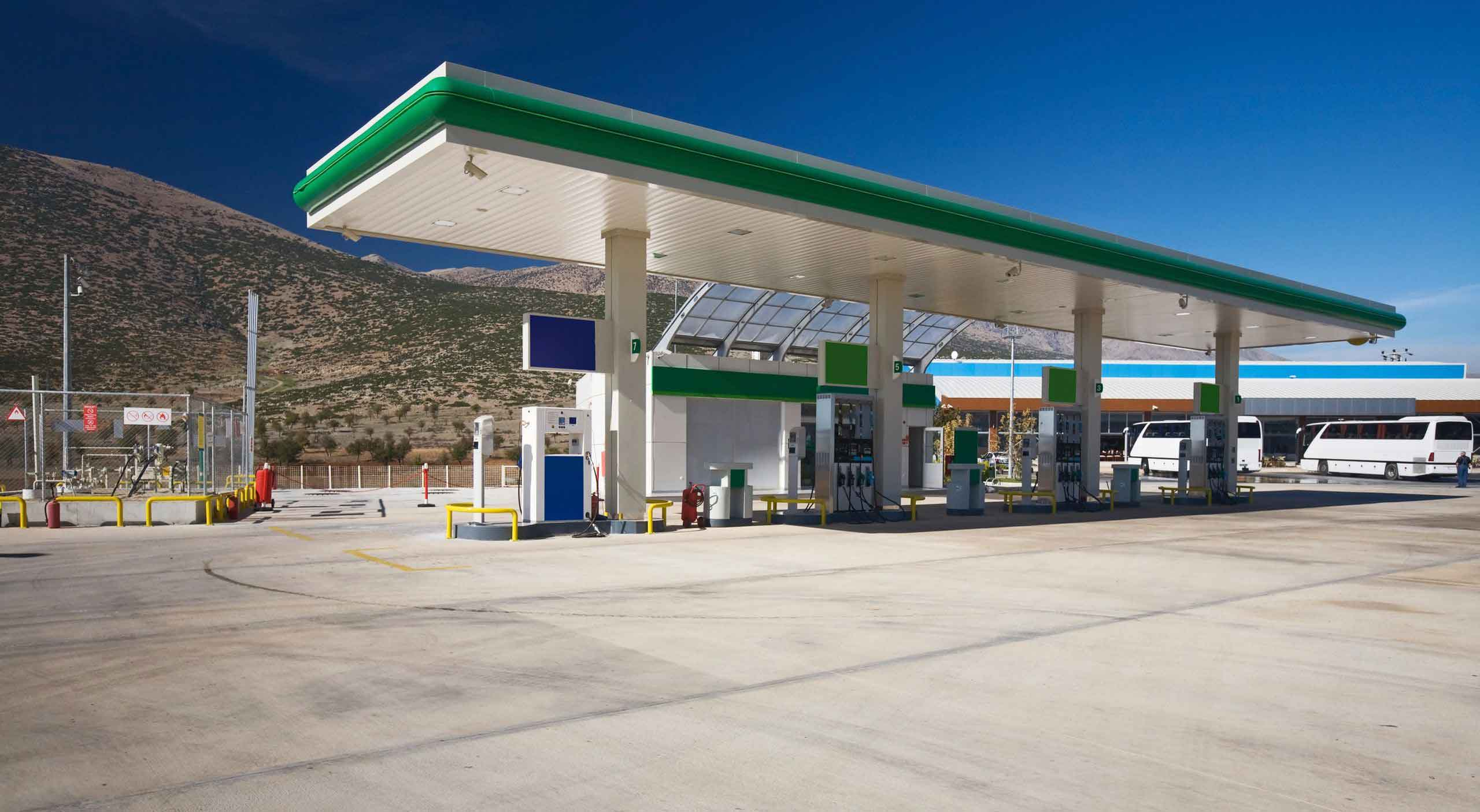 A natural gas filling station.