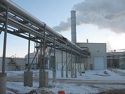 An industrial boiler in winter